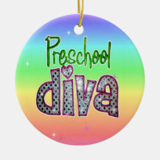 Preschool Diva School Grade Kids Girl Sparkle Ceramic Ornament