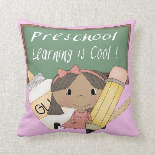 Preschool Ethnic Girl Learning is Cool Throw Pillo Throw Pillow