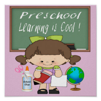 Preschool Girl Learning is Cool Poster/Print