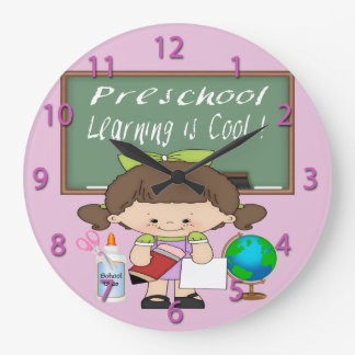 Preschool Girl Learning is Cool Round Wall Clock