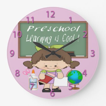 Beach Themed Preschool Girl Learning is Cool Round Wall Clock