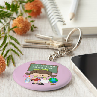 Preschool Girl Learning is Cool Square Key Chain