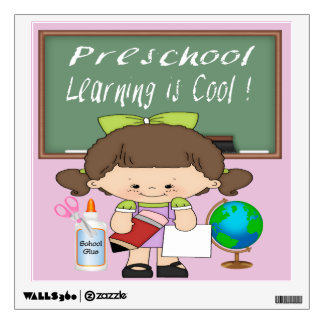 Preschool Girl Learning is Cool Square Wall Decal