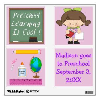 Preschool Girl Learning is Cool Wall Decal