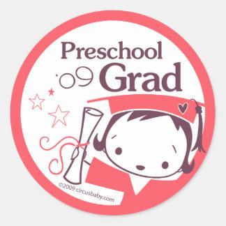 Preschool Graduate Girl Classic Round Sticker