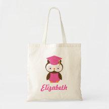 Preschool Graduate personalized Owl Gift Idea Canvas Bags