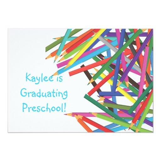 Preschool Kindergarten Graduation Colored Pencils Personalized Announcement