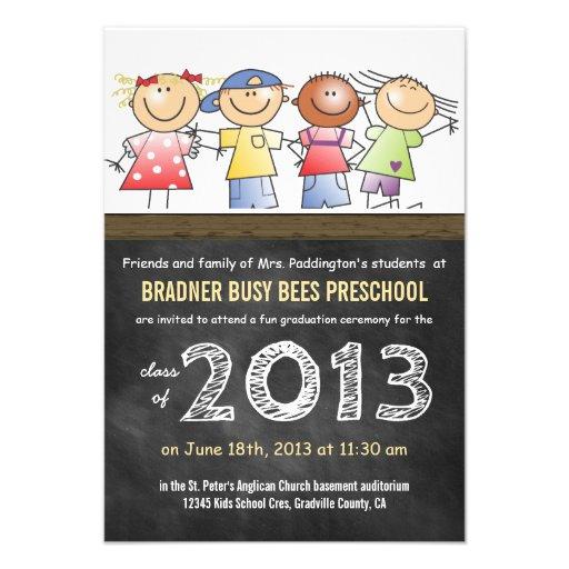 Preschool or Kindergarten Class Chalkboard Grad Personalized Invite