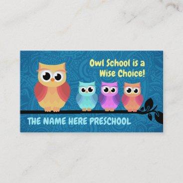 Preschool Owl Business Cards