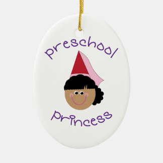Preschool Princess Double-Sided Oval Ceramic Christmas Ornament