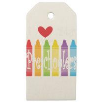 preschool teacher2 wooden gift tags