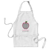 Preschool Teacher Apron - Charcoal Gingham Apple