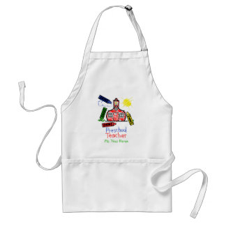 Preschool Teacher Apron - Schoolhouse and Crayons