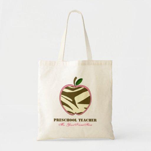 Preschool Teacher Bag - Brown Zebra Print Apple