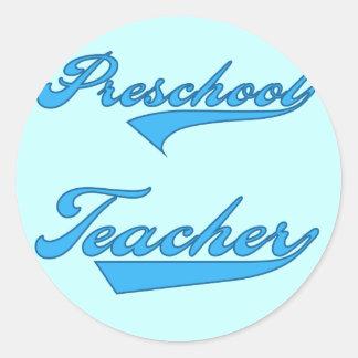 Preschool Teacher Blue Tshirts and Gifts Classic Round Sticker