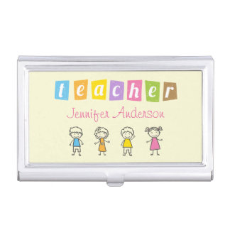 Preschool Teacher Cute Pencil Illustrations Case For Business Cards