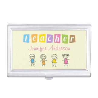 Preschool Teacher Cute Pencil Illustrations Case For Business Cards