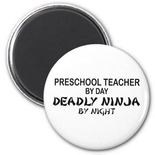 Preschool Teacher Deadly Ninja Fridge Magnets