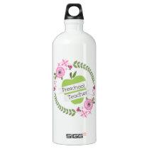 Preschool Teacher Floral Wreath Green Apple Aluminum Water Bottle