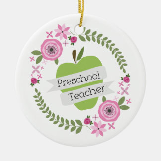 Preschool Teacher Floral Wreath Green Apple Ceramic Ornament