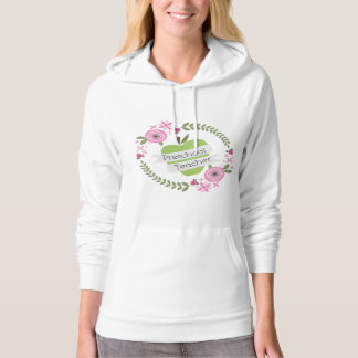Preschool Teacher Floral Wreath Green Apple Sweatshirt