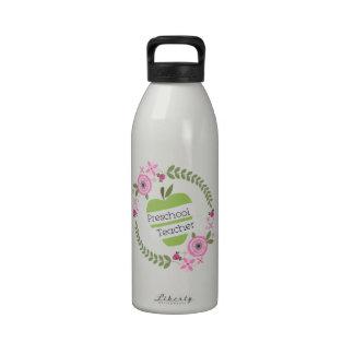 Preschool Teacher Floral Wreath Green Apple Water Bottles