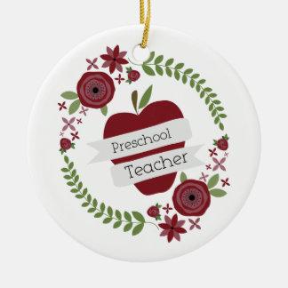 Preschool Teacher  Floral Wreath Red Apple Christmas Tree Ornaments