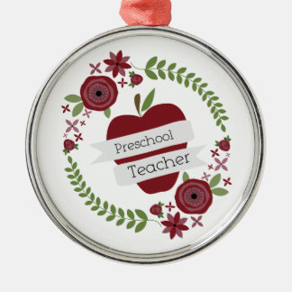 Preschool Teacher  Floral Wreath Red Apple Ornament