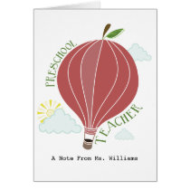 Preschool Teacher Hot Air Balloon Apple Card