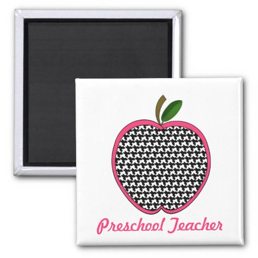 Preschool Teacher Houndstooth Apple 2 Inch Square Magnet