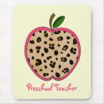 Preschool Teacher Leopard Print Apple Mouse Pad
