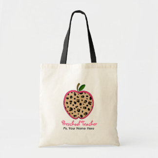 Preschool Teacher Leopard Print & Pink Apple Tote Bag