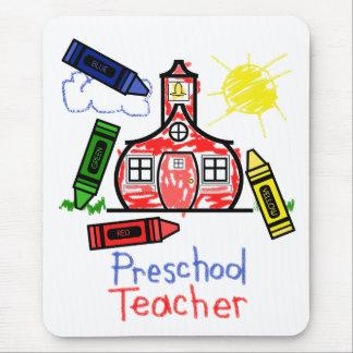 Preschool Teacher Mousepad - Schoolhouse & Crayons