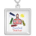Preschool Teacher Necklace - Crayon Drawing
