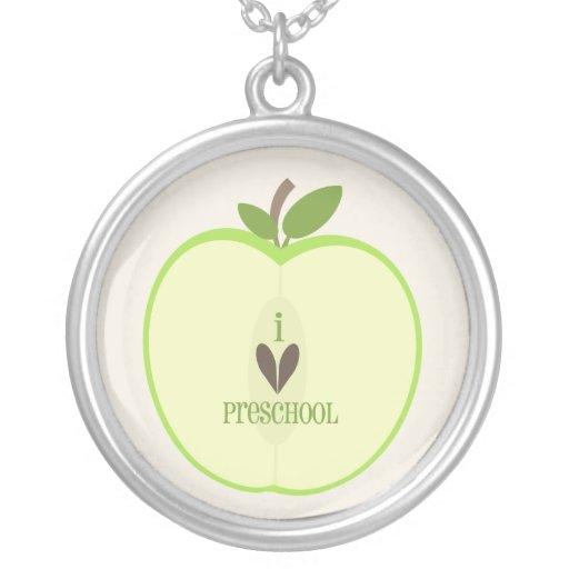 Preschool Teacher Necklace - Green Apple Half