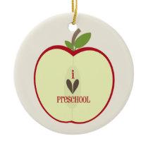 Preschool Teacher Ornament - Red Apple Half