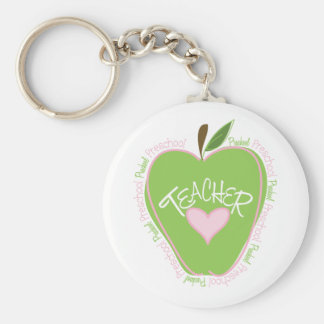 Preschool Teacher Pink & Green Apple Key Chains