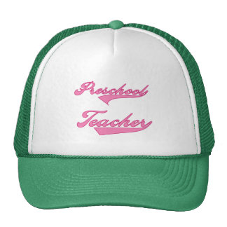 Preschool Teacher Pink Text  T-shirts and Gifts Hat