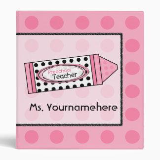Preschool Teacher Polka Dot Crayon Binder