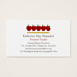Preschool Teacher Professional Business Card