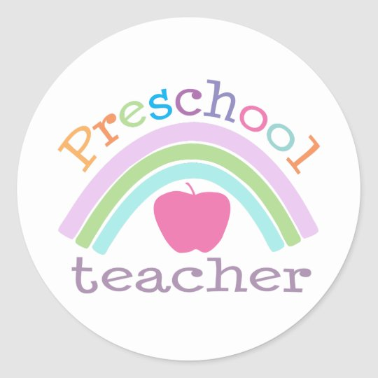 Preschool Teacher Rainbow Classic Round Sticker