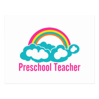 Preschool Teacher Rainbow Cloud Postcard
