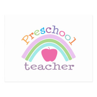 Preschool Teacher Rainbow Postcard