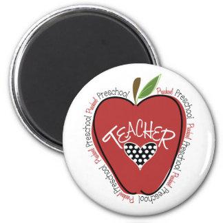 Preschool Teacher Red Apple 2 Inch Round Magnet