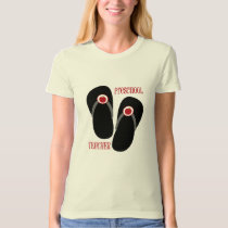 Preschool Teacher Red Apple Flip Flops T-Shirt