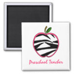 Preschool Teacher Zebra Print Apple Refrigerator Magnets