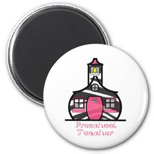 Preschool Teacher Zebra Print Schoolhouse Magnets