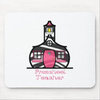 Preschool Teacher Zebra Print Schoolhouse Mouse Pad