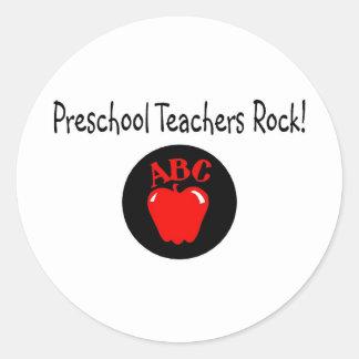 Preschool Teachers Rock Apple Classic Round Sticker