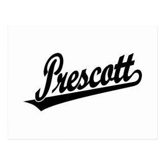 Prescott script logo in black postcard